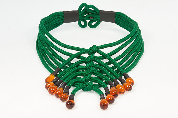 Forest green and amber shoelace necklace