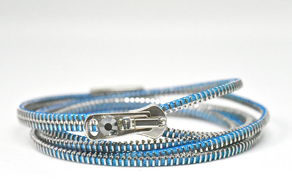 Triple/Six Steel and Denim Blue Zipper Bracelet and Necklace in One