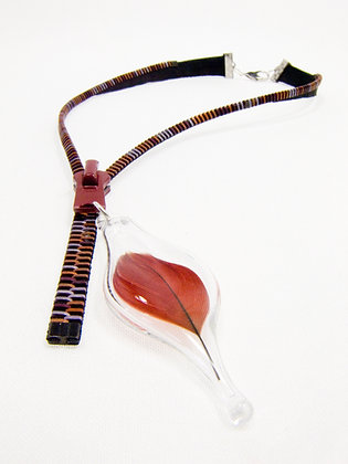 Lg-toothed Zipper Necklace w Red Feather (Z47)