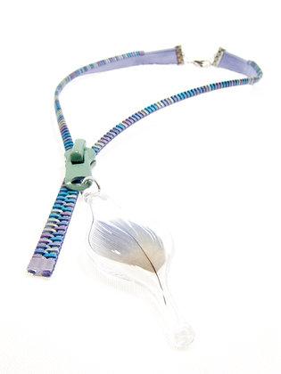 Lavender/multi zipper necklace w pale blue feather