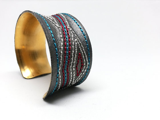 Savanna Cuff (blue, cranberry, silver)