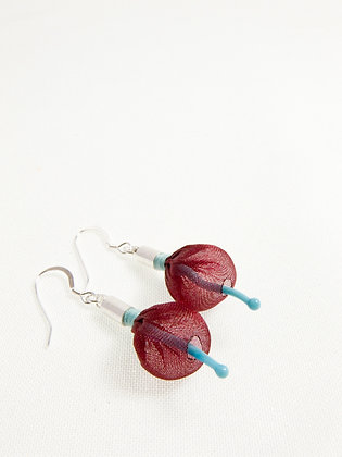 Wine and Sky Blue Sprout Earrings