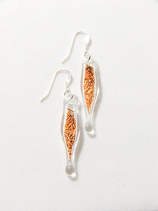 Glass capsule earrings with copper wire