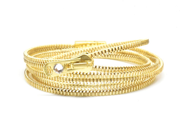 Triple/Six Brass and Butter Zipper Bracelet and Necklace in One