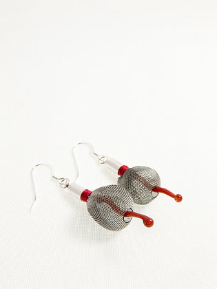 Silver Grey and Red Sprout Earrings