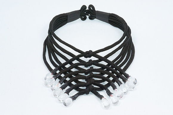 Black and clear shoelace necklace