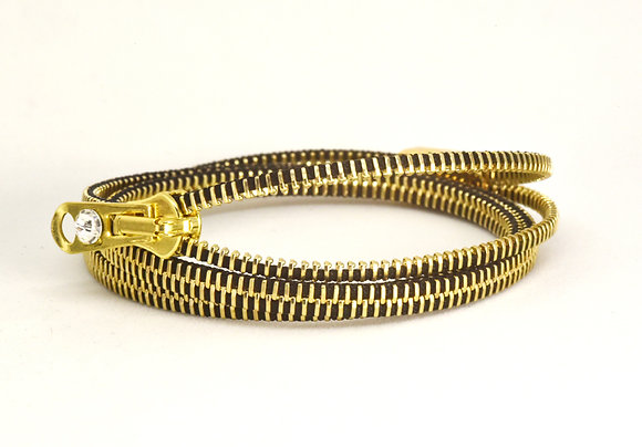Triple/Six Brass and black Zipper Bracelet and Necklace in One