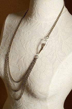 Brass unchain my heart necklace w scissor charm