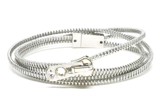 Double/Four Steel and Grey Zipper Bracelet and Necklace in One