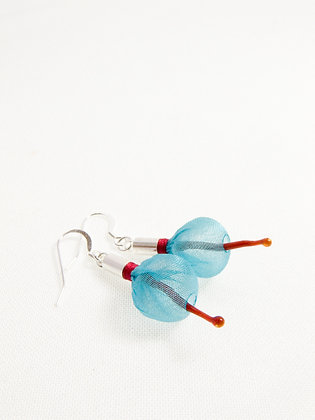 Blue and Red Sprout Earrings