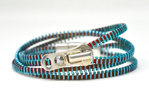 Double/Four Blue and Cranberry Zipper Bracelet and Necklace in Once