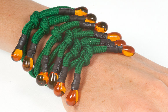 Forest green and amber shoelace bracelet