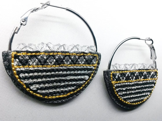 Basket Hoops - silver, gold w clear crystals