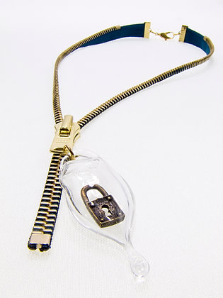 Lg-toothed Zipper Necklace w Brass Lock Charm