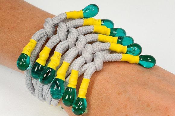 Grey and turquoise shoelace bracelet