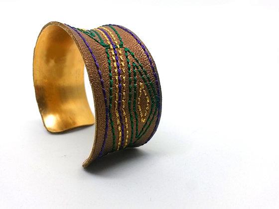 Savanna Cuff (cocoa,gold,green,purple)