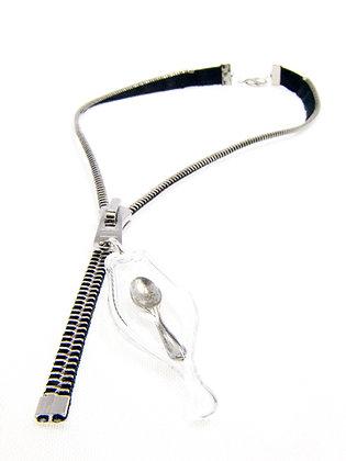Blk/silver zipper necklace w spoon charm