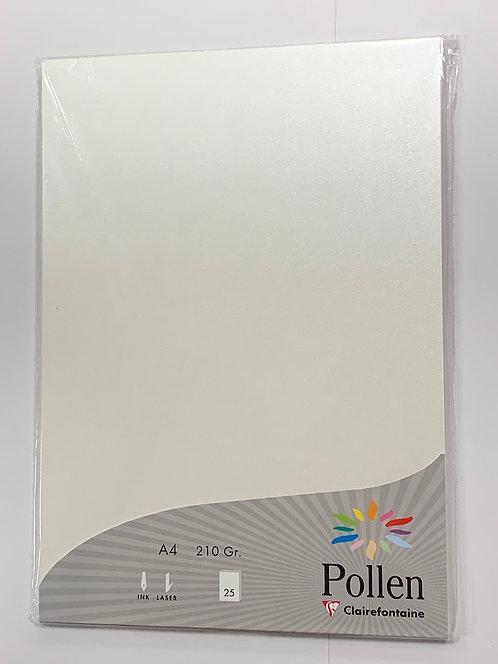 PAPIER POLLEN 210X297MM 210G BLANC IRISE 25PCS