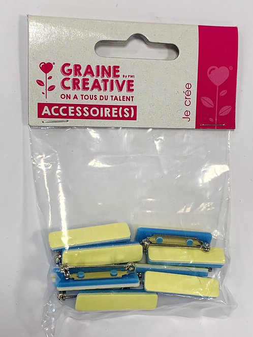BARETTE BROCHE ADHESIVE 30MM 10PCS