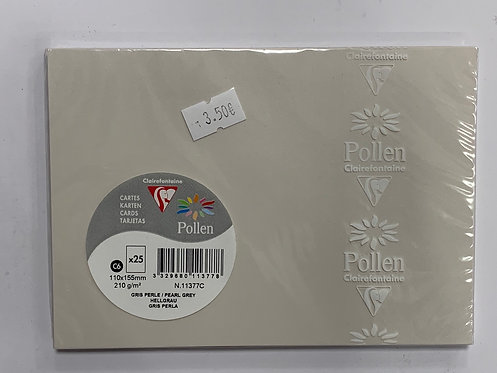 CARTE POLLEN 110X155MM 210G GRIS PERLE 25PCS