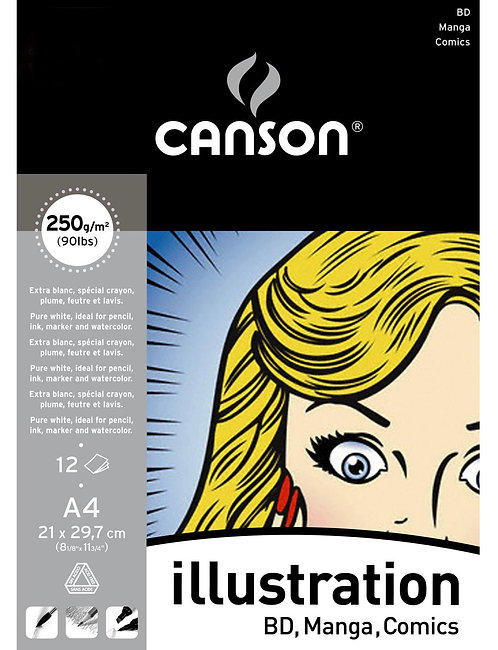 ALBUM 12 FEUIL. A4 CANSON ILLUSTRATION 250G