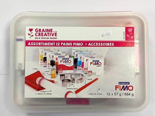 BOITE INITIATION 12 PAINS FIMO + ACCESSOIRES