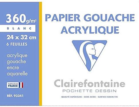 POCH. GOUACHE ACRY CLAIREF. 360G 24X32CM 6F.