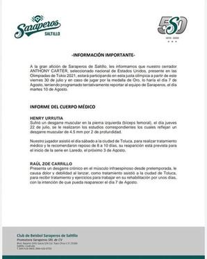 ESTE ES EL REPORTE MEDICO DE LOS SARAPEROS