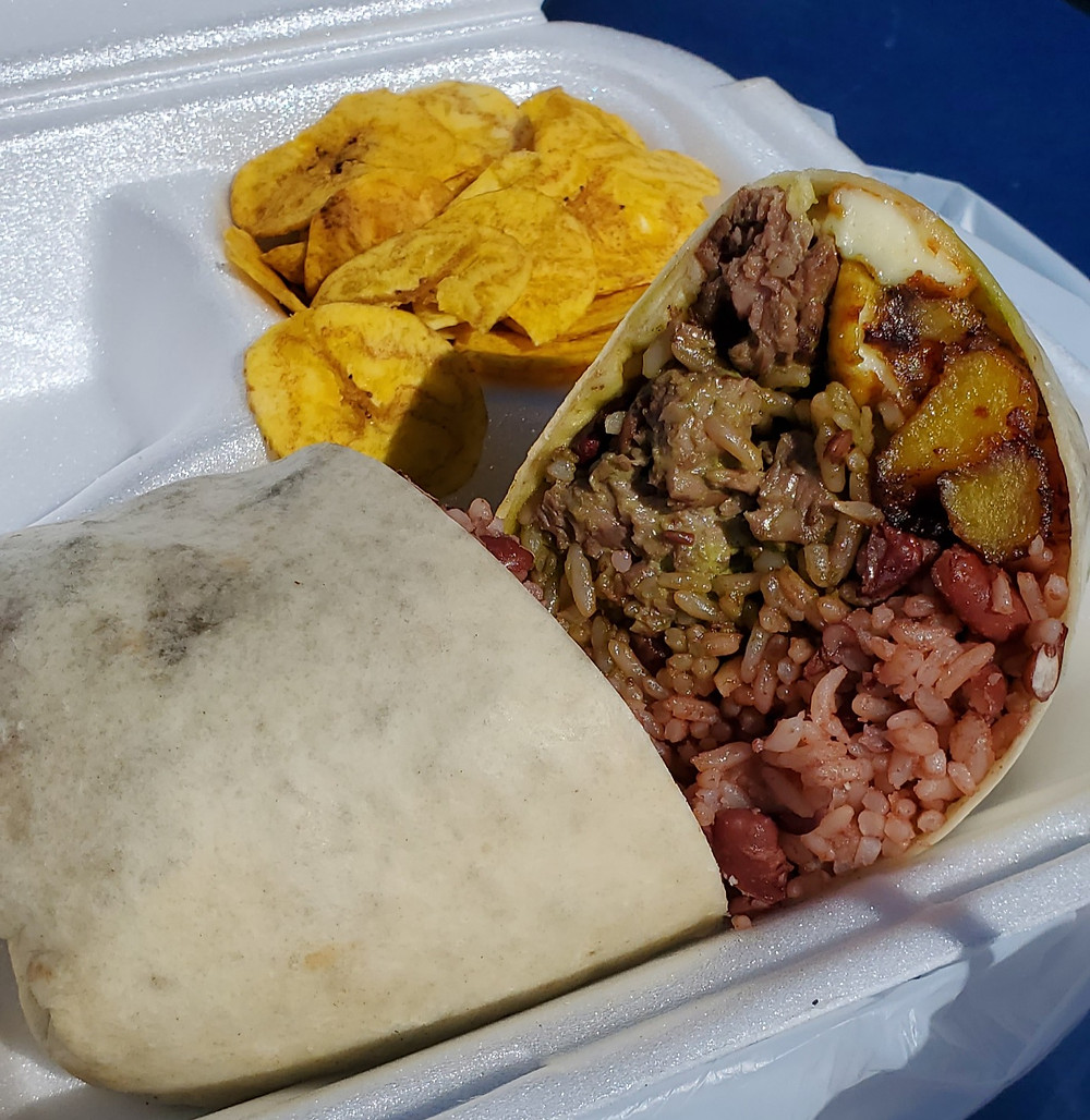 Fritanga Wrap with Plantain Chips
