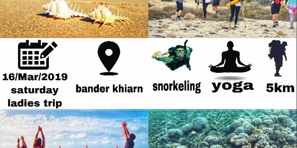 yoga hiking beach