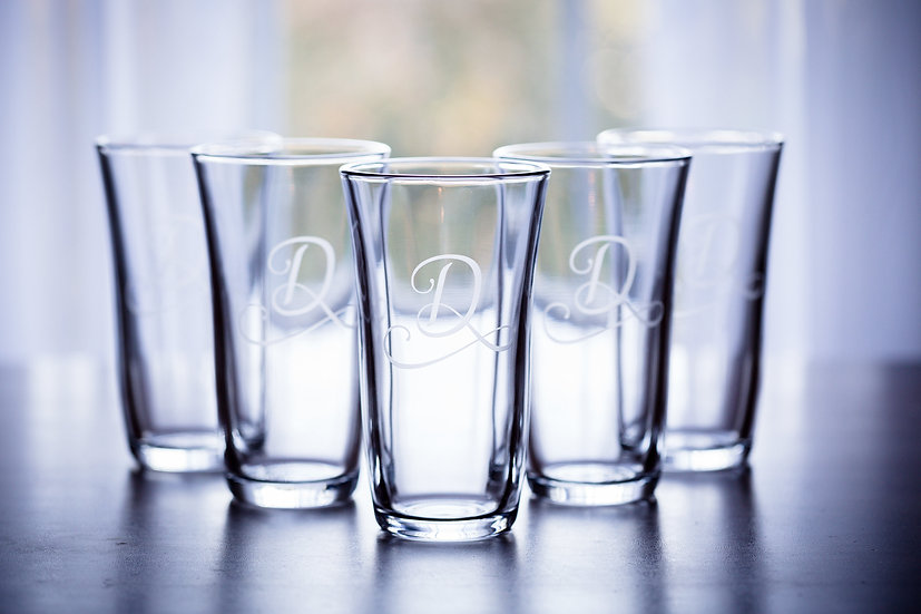 Monogrammed Glass Set of 4