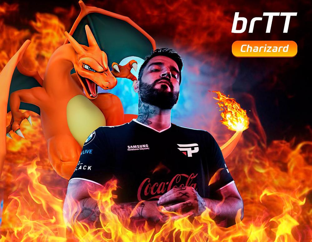 Jogador da paiN Gaming brTT ao lado de um Charizard com chamas ao redor de ambos.