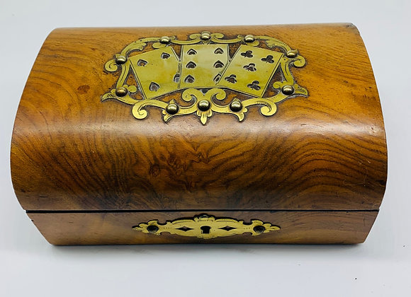 Walnut And Brass Playing Card Games Box C1860