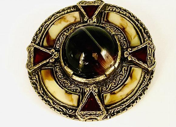 Celtic Silver Gilt Agate Brooch C1930