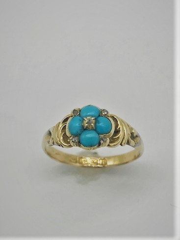 BEAUTIFUL 18CT  GOLD RING WITH DIAMONDS & TURQUOISE CABOCHONS BIRMINGHAM 1910