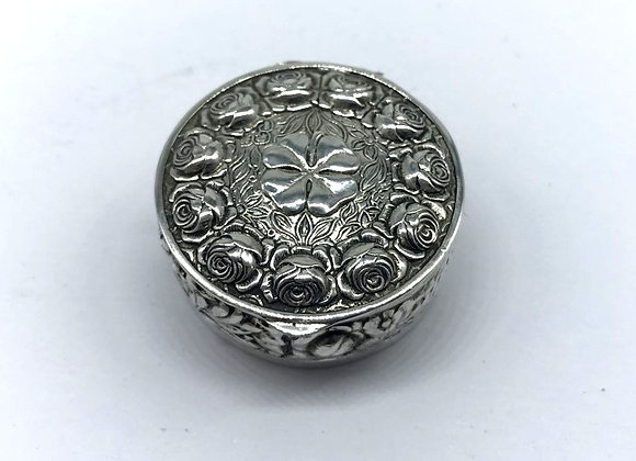 Solid Silver Circular Pill Box, London Import Marks 1959