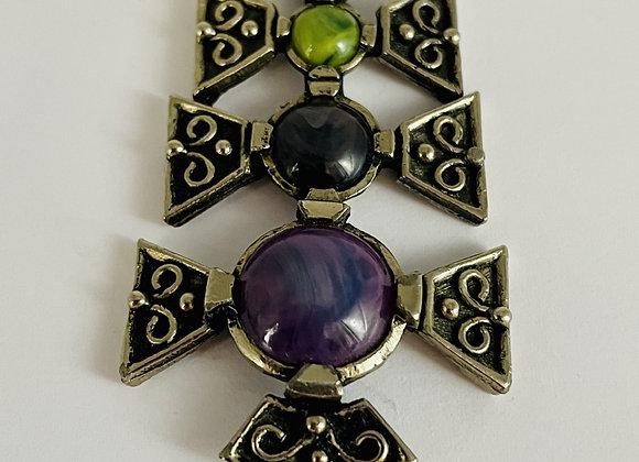 Stunning Silver Celtic Agate Pendant C1920