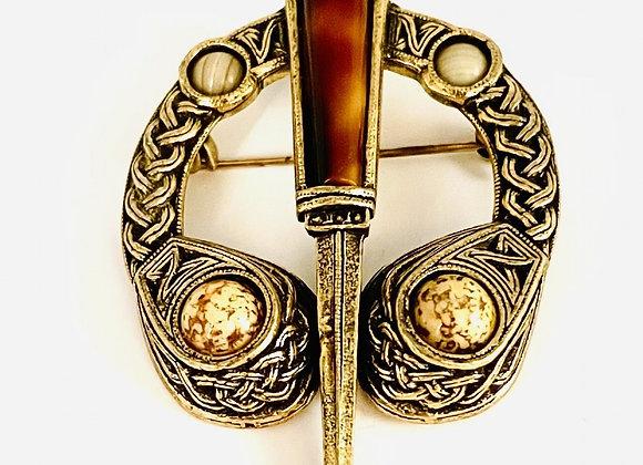 Unusual Silver Gilt Celtic Agate Brooch Circa 1930
