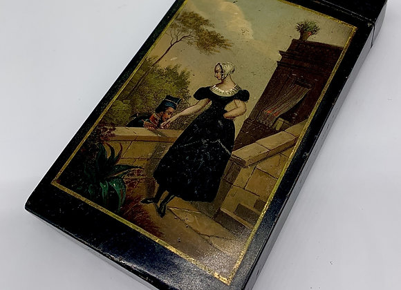 Rare Early 19th Century French Enamel Hand Painted Cigar Case C1810