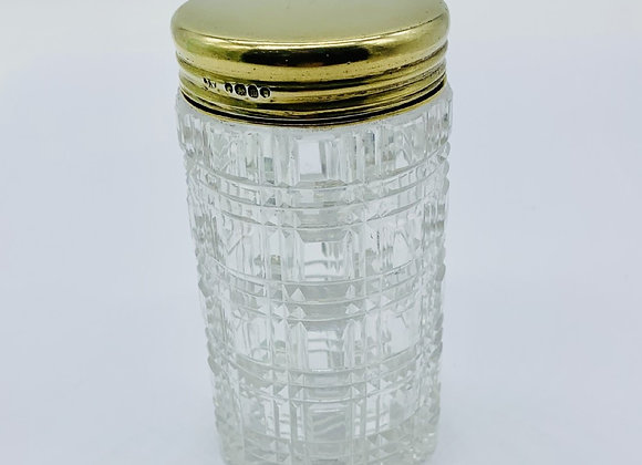 Quality Victorian Silver Gilt And Cut Glass Dressing Table Box London 1887