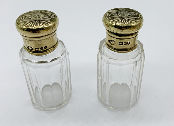 Pair Of Quality Victorian Small Solid Silver Gilt Scent Bottles London 1889