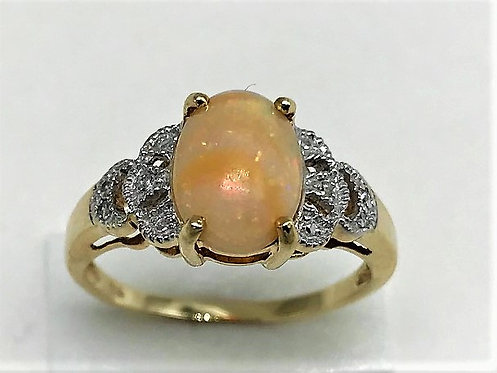 STUNNING ART DECO 9CT GOLD DIAMOND & OPAL DRESS RING C1920