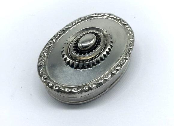 Unusual Solid Silver Oval Snuff Box, Sheffield 1919.