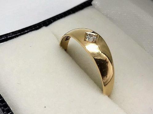 QUALITY UNISEX VICTORIAN 18CT GOLD SINGLE STONE DIAMOND GYPSY RING LONDON 1887