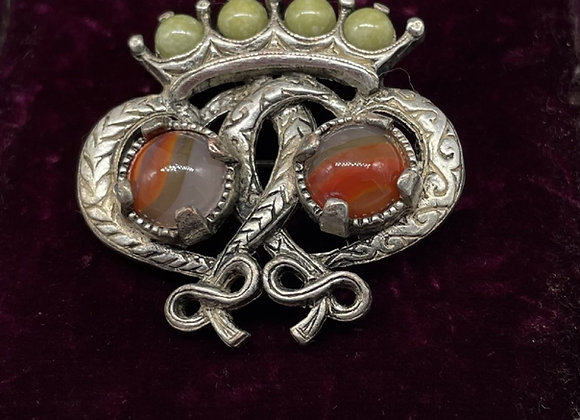 Traditional Scottish Silver Agate Luckenbooth Brooch 1930