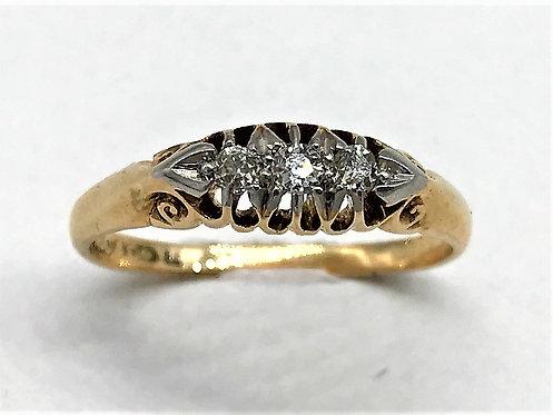 QUALITY LATE VICTORIAN DIAMOND THREE STONE RING 1880
