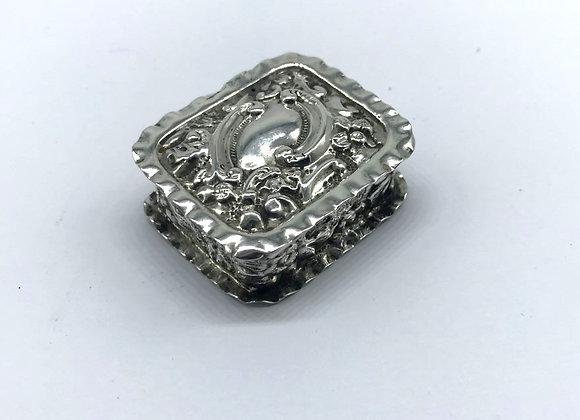 Ornate Edwardian Solid Silver Pill Box, B'ham 1903