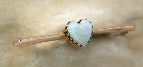 DELIGHTFUL ANTIQUE 14CT GOLD & OPAL HEART SHAPED BAR BROOCH C1900