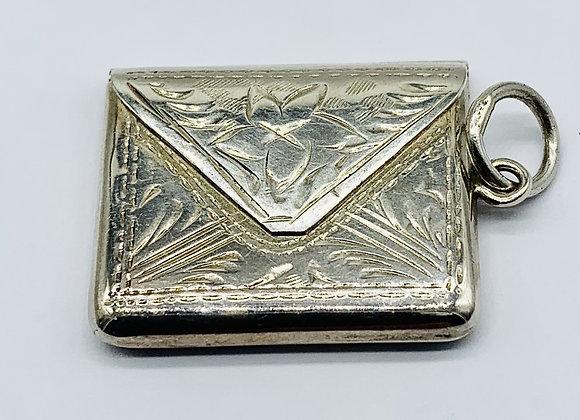 Delightful Little Solid Silver Novelty Stamp Case C1920