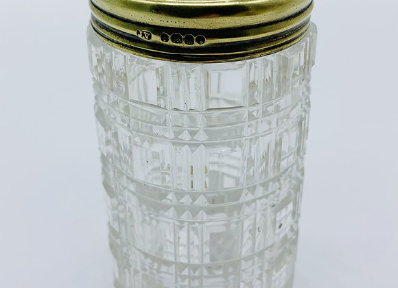 Victorian Cut Glass Dressing Table Jar With Silver Gilt Cover London 1887